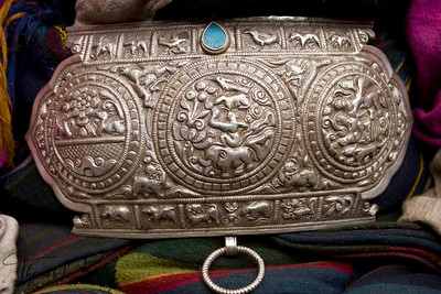 Traditional silver belt. Sherpas of Solu Khumbu are very wealthy and they choose to wear the elaborated fineries during celebration.