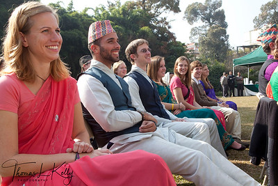 Peace Corps Volunteers to Nepal wear traditional Nepali attire. Men wear Daura Surwal and topi whereas women wear fariya cholo.  50th Anniversary Swearing In of Peace Corps Nepal Volunteer Group 199.