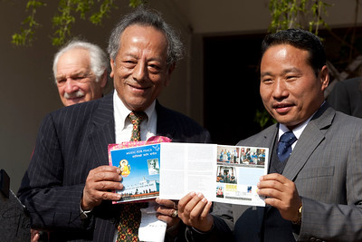 Singha B. Basnyet, Ph.D and Finance Minister Barsha Man Pun.  50th Anniversary Swearing In of Peace Corps Nepal Volunteer Group 199.