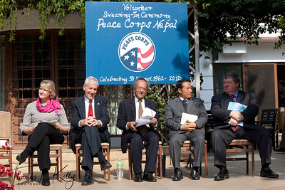 (l-r) Andrea Wojnar-Diagne, William Stacy Rhodes, Singha B. Basnyat, Barsha Man Pun, and US Ambassador Peter W. Bodde during 50th Anniversary Swearing In of Peace Corps Nepal Volunteer Group 199.