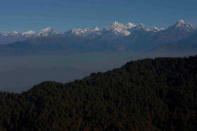 Range of Mountains along with  wall of Lhotse, Mt. Everest and Nuptse on the right. View from Lukla. Nepal.
