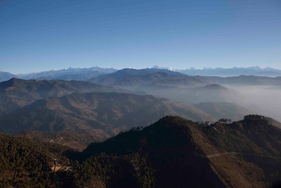 Himalaya range on approach to Lukla Airport. Lukla, Nepal.