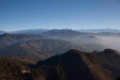 Himalaya range on approach to Lukla Airport. Lukla, Nepal.