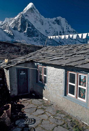 "Ama Dablam- Ama Dablam means ""Mother and Pearl Necklace"" (the perennial hanging glacier is thought of as the pearl) and is a stunningly beautiful mountain that many people who visit the area will consider the best in the region."