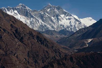 Mt. Everest (center) behind Lhotse and Nupse. Lukla, Nepal.