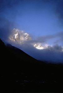 Cloud caresses the Lotse Himal (8541m). Everest region Nepal.