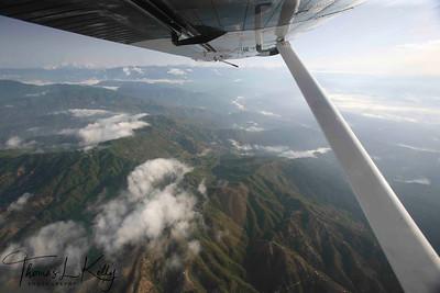 Ariel view of Himalayan range in Solu region.