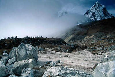 Everest Memorial with Lobuche. Everest region, Nepal