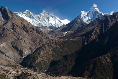 Mt. Ama Dablam on the far right with Mt. Everest (center) with Lhotse and Nupse on either side. Lukla, Nepal.