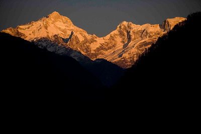Mt. Manaslu glowing in sunset.