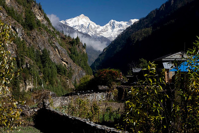 Mount Manaslu at the elevation of 8163 meters. Manang, Nepal.