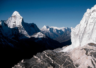 "Ama Dablam is a mountain in the Himalaya range of eastern Nepal. The main peak is 6,812 metres (22,349 ft), the lower western peak is 5,563 metres (18,251 ft). Ama Dablam means ""Mother's necklace"". Khumbu, Nepal."