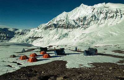 Mountaineers camping in Everest region, Solu Khumbu, Nepal.