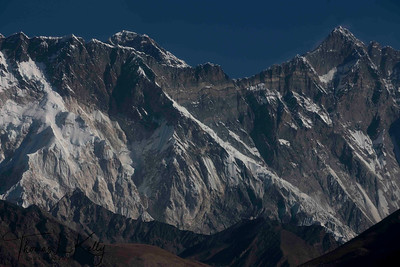 Mt. Everest (center) behind Lhotse and Nupse. Lukla, Nepal.