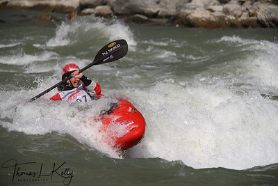 Paddler performing  freestyle routines on a set wave. Trisuli, Nepal.