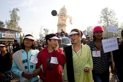 Third gender parading during World AIDS Day. Dhangadi, Nepal.