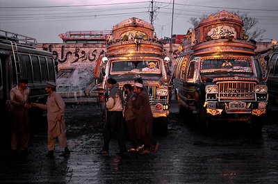 Like painted up tarts, the gaudy buses of Pakistan wait for customers at the Adda Pir Wadhai bus terminal, a hotbed of male prostitution right on the outskirts of Rawalpindi/Islamabad, near the airport of the nation' capital.