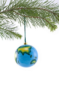 Globe Christmas Ornament showing Asia