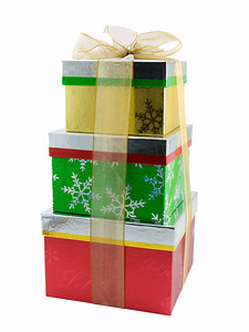 Stack of three christmas presents tied with a bow, isolated on a white background