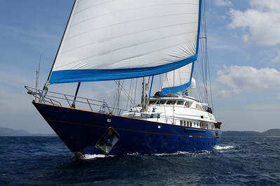 luxury sailing yacht cruising in waters of phuket