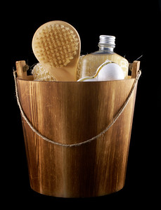 Wooden bucket with relaxing things.