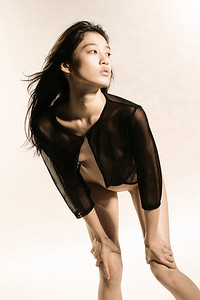 Stunning Asian fashion model in studio