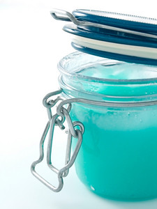 close-up of jar of glass with Peeling