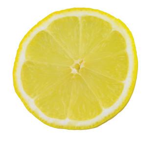 Slice of lemon isolated on white background