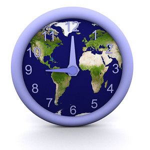 3d rendered clock showing the time with earth background