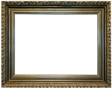 Gold coloured, isolated over white empty frame. Such frames is used on exhibitions.