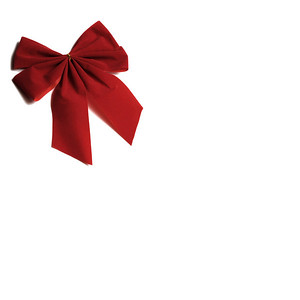 Isolated red ribbon wrapped around a white background as a gift