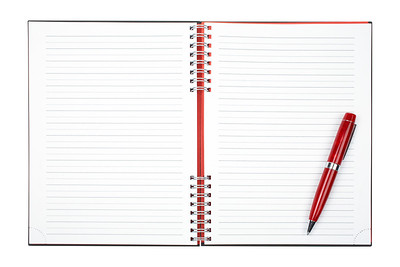 Blank notebook sheet with pen, over a white background. Path included
