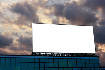 Blank Billboard  on top of a building in dusk background