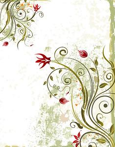 Abstract grunge paint floral frame, element for design, vector illustration