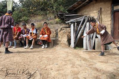 Leisure time for Bhutanese students.  Paro Valley, Bhutan.