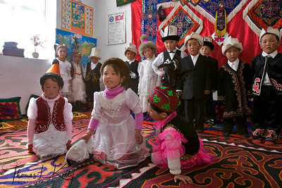 Students dressed in their best for music class. Satellite Kindergarten (SKG) in Kabylanlal, Kyrgyz Republic.