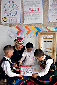 Math class. Satellite Kindergarten (SKG) in Kabylanlal, Kyrgyz Republic.