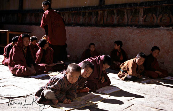 Studying Buddhism .  Paro Valley, Bhutan.