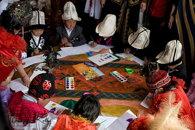 Drawing classes. Satellite Kindergarten (SKG) in Kabylanlal, Kyrgyz Republic.