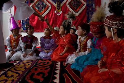 Students dressed in their best for music class. Satellite Kindergarten (SKG) in Kabylanlal, Kyrgyz Republic.