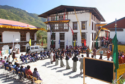 School in Paro Valley. Bhutan.