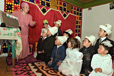Math class. Satellite Kindergarten (SKG) in Kabylanlal, Kyrgyz Republic.
