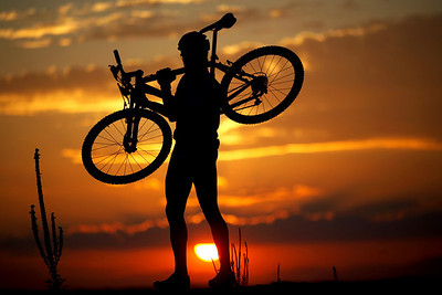 mountainbiker in the sunset