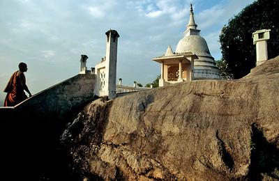 Theravadan Buddhist stupa structure above Ulpotha. Ulpotha, Sri Lanka.