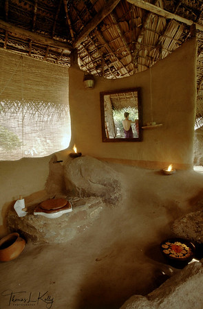 Accomodation is in traditional adobe-style mud huts. Ulpotha, Sri lanka.