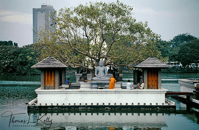 The nature of Hinayayana meditation practice requires many lifetimes of effort for the attainment of liberation and enlightment. One naturally releases the bonds of unhappiness. This is the way of purification and freedom. Hinayayana, Budhist Temple. Colombo, Sri Lanka.