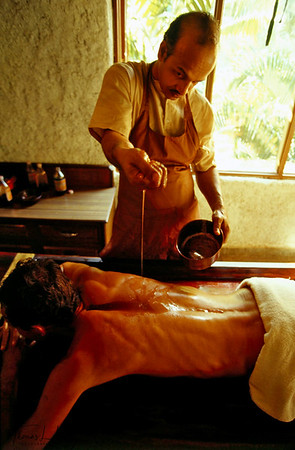 Ayurvedic massage oil is produced at Ulpotha and applied on guests by professional masseurs. Ulpotha, Sri Lanka.