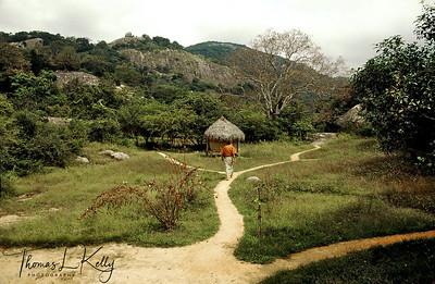 Walking paths around Ulpotha but no signposts. Ulpotha, Sri Lanka.
