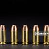 Pistol ammunition, 9mm Luger, cartridge, jacked hollow point
