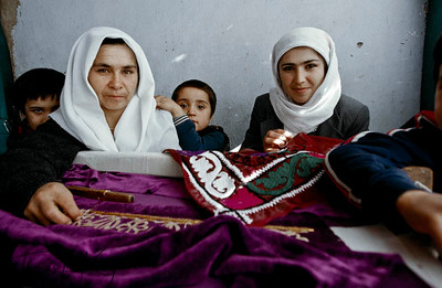 Embroidering sequins work is another means of income for some of these widows. Tazikistan;Dushambee
